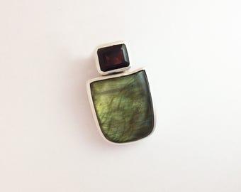 Labradorite and Garnet Pendant
