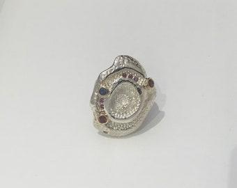 Garnet, Sapphire and Rhodonite Rose Ring