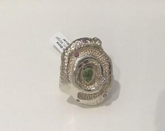 Peridot, Morganite And Rhodonite Rose Ring