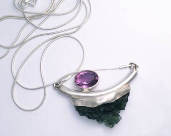 Moldavite and Amethyst Necklace