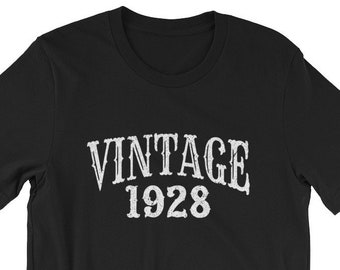 Vintage 1928 90th Birthday Shirt 90 Years Old Turning Gift For Him Her Retro Bday Tee Unisex