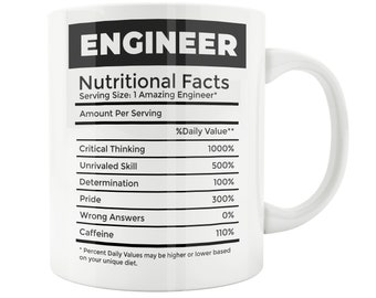 Engineering Gifts Chemical Engineer Gift Mug Nutritional Facts Perfect Civil Birthday