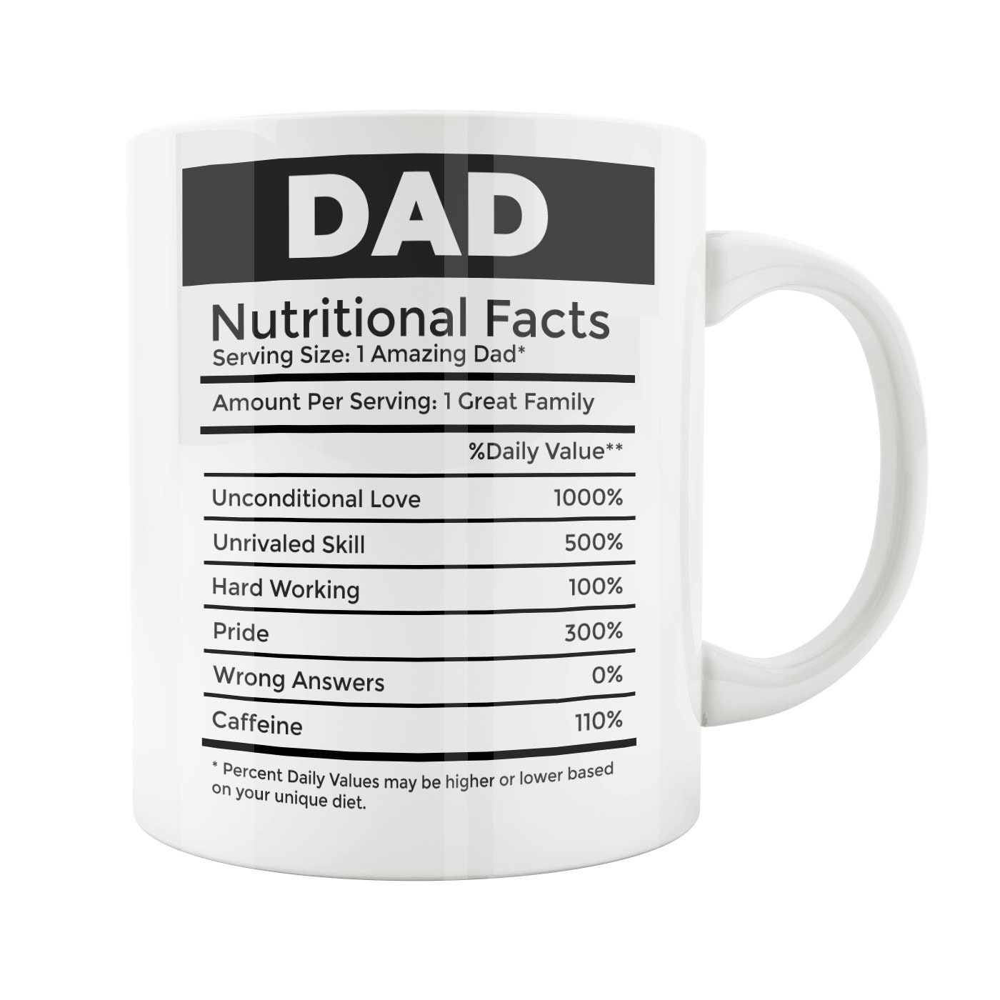 Father S Day Funny Coffee Mug Dad Nutrition Facts Etsy