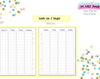 B6 WIDE Vertical Lined Week on 2 Pages (WO2P) Inserts for B6 Ring Planners   B6 Kikki K   Foxy Fix Rings
