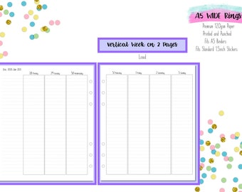 A5 WIDE Lined Vertical Week on 2 Pages (WO2P) Printed Inserts with 1.5 inch wide columns for A5 Filofax    Aura Estelle Cloud   Kikki K - V2