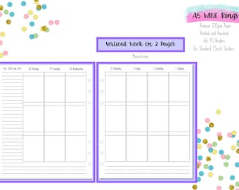 A5 WIDE Vertical Week on 2 Pages (WO2P) Printed Inserts with 1.5 inch wide columns for A5 Filofax    Aura Estelle Cloud   Kikki K - V1