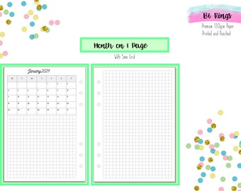 B6 Month on 1 Page with Grid   MO1P   Monthly Printed Inserts for B6 Kikki K   Foxy Fix and other B6 Ring Planners