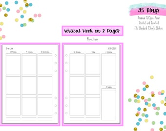 A5 Vertical Week on 2 Pages (WO2P) Printed Inserts with 1.5 inch wide columns for A5 Filofax  | Large Kikki K Refills - V1 Monochrome