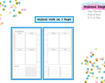 Personal Vertical Week on 2 Pages (WO2P) with Habit Tracker Inserts for Personal Filofax   Medium Kikki K   Colour Crush Planners - V3
