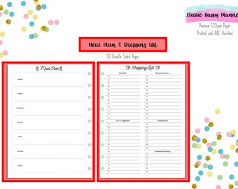 Happy Planner Meal Plan & Shopping List Inserts for Classic Happy Planner   Happy Planner Refills   Arc Inserts