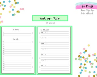 B6 Rings WO1P with To Do   Week on 1 Page with To Do Inserts for B6 Ring Planners   B6 Kikki K   B6 Foxy Fix