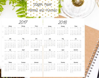 A5 Year at a Glance   Yearly   Year on 1 Page for A5 Filofax   Large Kikki K   Carpe Diem and Equivalent Planners