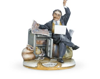 Perfect Gift for Bankers - IL BUNCHIER Handmade Capodimonte Banker in Porcelain