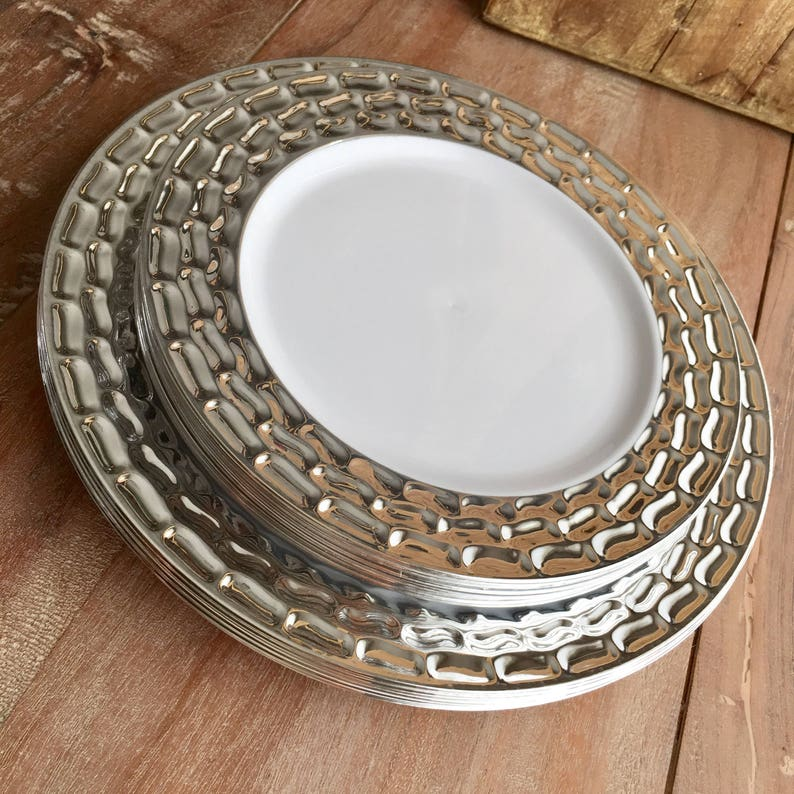 Modern White And Silver Party Plates Disposable Wedding Plates Buffet Plates Disposable Party Plates Mod Mercury Plate Collection