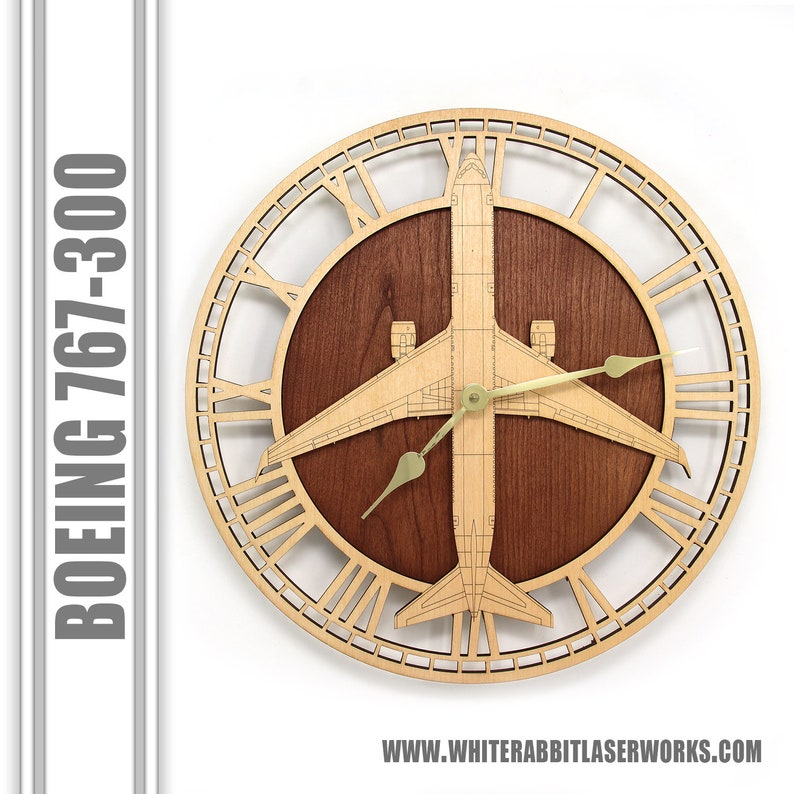 Boeing 767 Wood Wall Clock, Airplane Clock, Aircraft Gifts, Airplane Gifts,  Aviation Gifts, Pilot Gifts, Retirement Gifts, Promotion Gifts