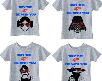 Todder/Youth/Adult Star Wars themed 4th of July tees