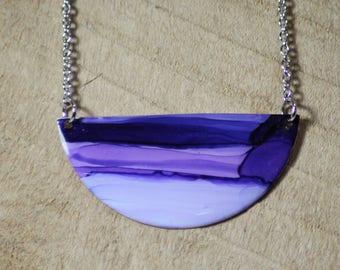 Half Moon Purple Hand Painted Necklace