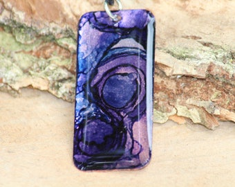 Purple Alcohol Ink Hand Painted Necklace (2)