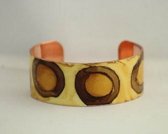 Hand Painted Shades of Brown Copper Cuff