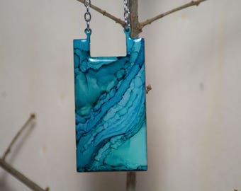 Aqua and Blue Hand Painted Necklace