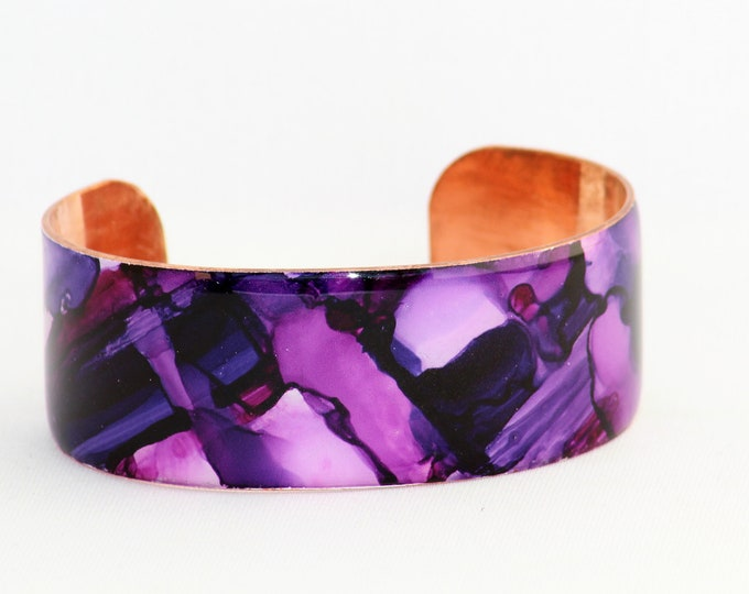 Featured listing image: Hand Painted Shades of Purple Copper Cuff