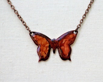 Hand Painted Dark Orange and Rust Small Butterfly Necklace