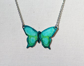 Hand Painted Teal and Lime Green Large Butterfly Necklace