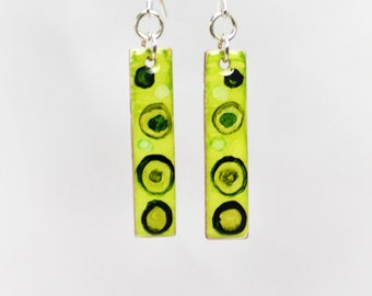 Hand Painted Lime Green Earrings