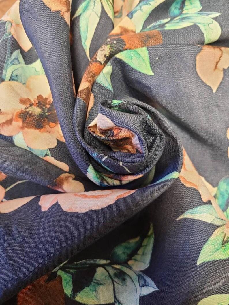 100/% LINEN Floral woven