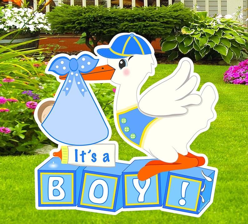 Yard Stork Sign Pregnancy Gift Shower  Banner Outdoor Newborn Garden Decoration Art Its a Boy Welcome Home Baby Lawn Birth Announcement