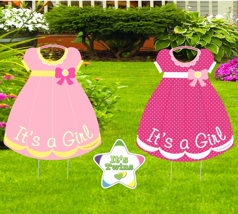 Twin Baby Girl Signs, Birth Yard Announcement, Newborn Babies Lawn  Decoration, Pink Shower Party, Welcome Home Arrival, Keepsake Gift Idea