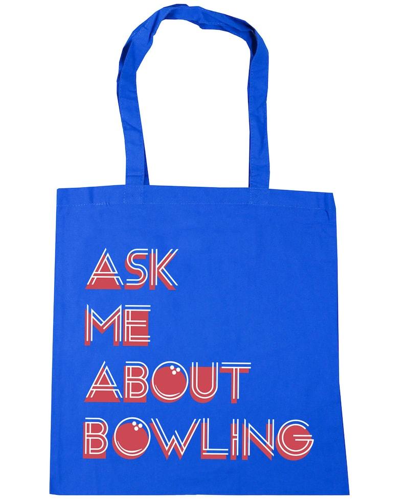 10 litres Ask Me About Bowling Ten Pin Bowling Tote Shopping Gym Beach Bag 42cm x38cm