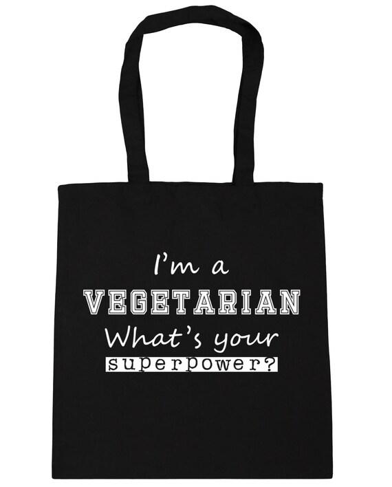 Je suis végétarien, ce qui est votre superpuissance? Sac cabas sac de plage Shopping sport x38cm de 42cm, 10 litres