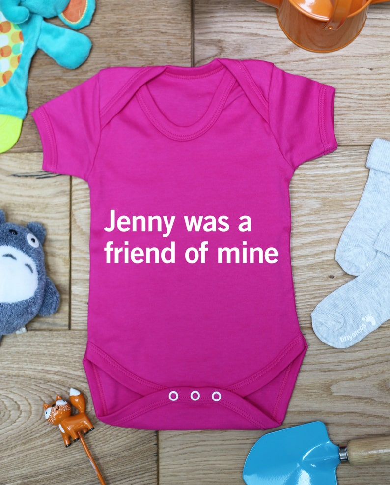 Printed Babies Wear Clothing Made To Order Bodysuit Jenny was a friend of mine baby vest boys girls grow Handmade Little Hippo Hippy