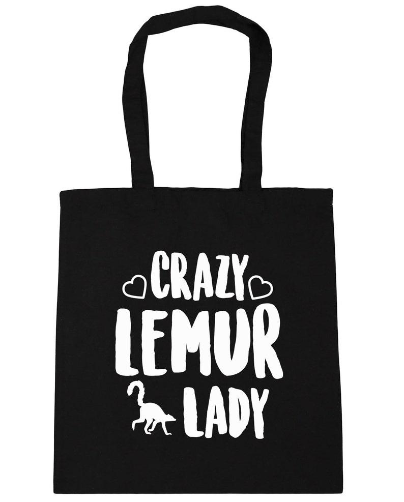 10 litres Crazy lemur lady Tote Shopping Gym Beach Bag 42cm x38cm
