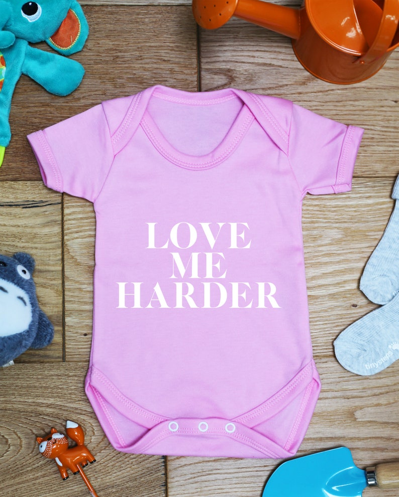 Love me harder baby vest boys girls grow Bodysuit Made To Order Handmade Little Hippo Hippy Gift Printed Babies Wear Clothing