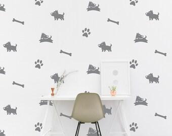 Dog bone wall Decal Bone Kids room Marine Wall Sticker Kids Bedroom Pattern Wallpaper Vinyl Wall Decals Nursery Wall Stickers Home Decor