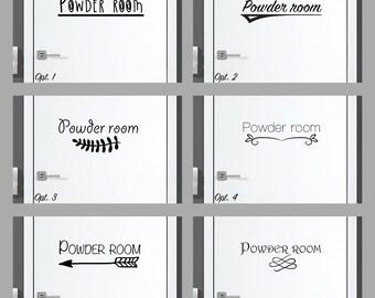 Powder Room Decal Powder Room Sticker Powder Room Door