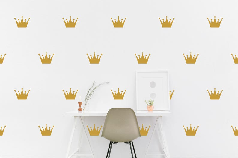 gold crown wall decal king queen crowns kids room wall | etsy