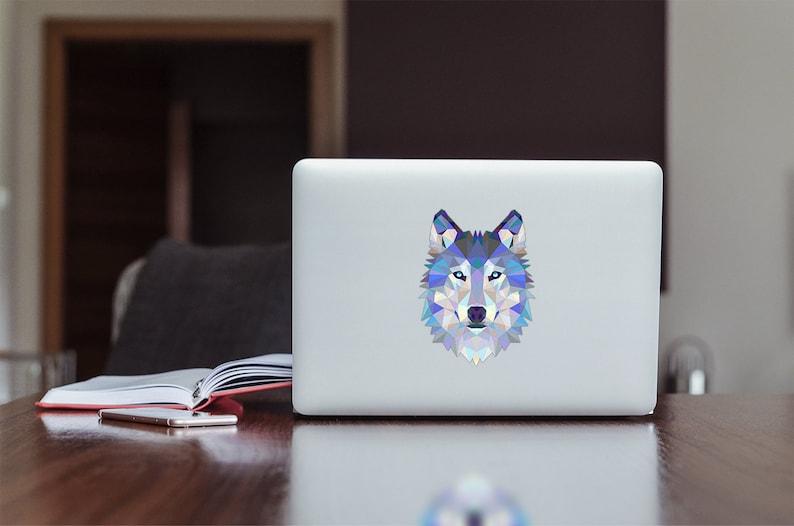 Modern Geometric Wolf spirit animal Apple MacBook / Laptop / iPad color  Decal sticker Low poly