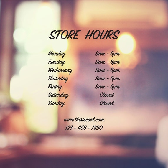 Custom Store Hours Decal Classic Business Hours Store Sign Decal Front Door Entryway or Wall Vinyl Sticker Great Gift Idea  Decor