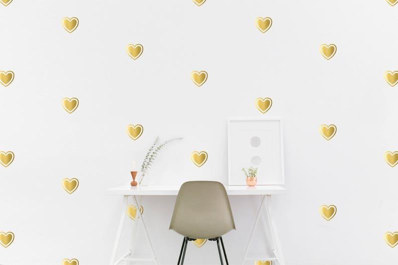 gold heart wall decal kids room shape wall sticker kids | etsy