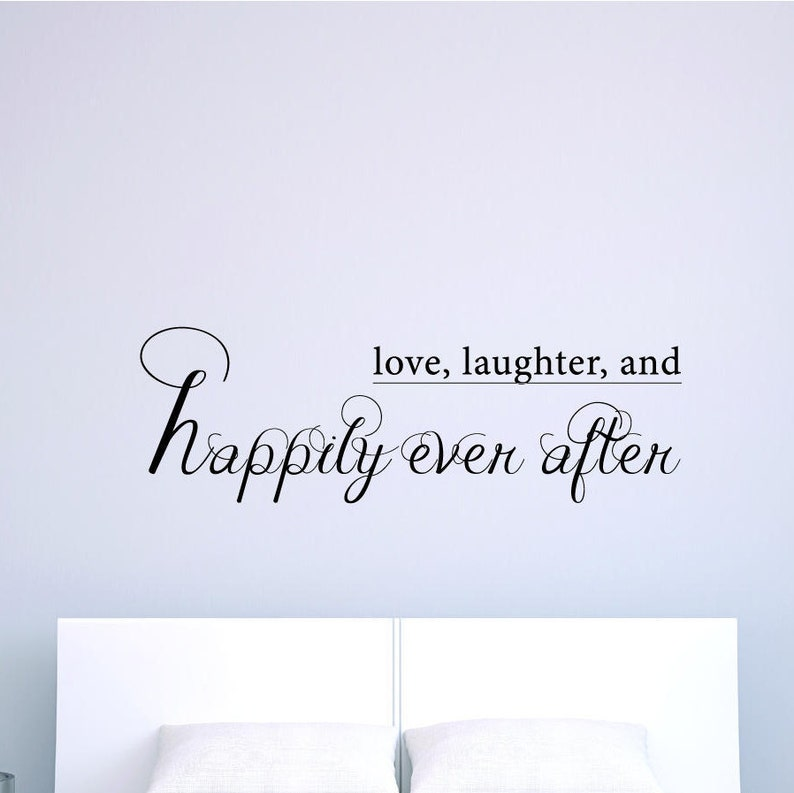 Love Laughter Happily Ever After Wall Decal Inspirational Quote Decor Wall Sticker Motivation Art Vinyl Decal Good Home Decoration Gift Idea