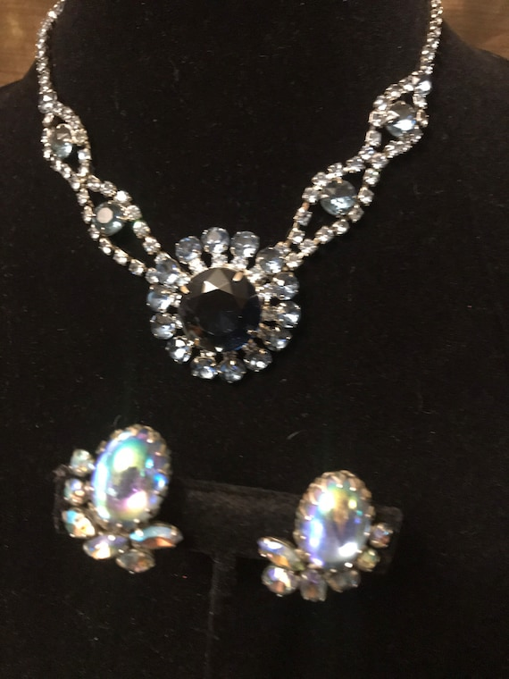 Stunning Sherman Earrings  paired with Cobalt Blue Large Rhinestone Necklace Vintage Set