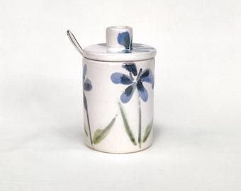 Blue flowers handpainted stoneware ceramic lidded jar - handmade - majolica