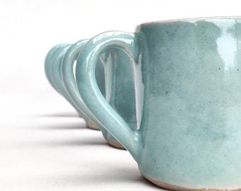 Set of four celadon espresso coffee cups - mini mugs - handmade stoneware ceramic. Also made to order