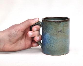 Coffee cup - mug - green blue bronze stoneware ceramic - handmade