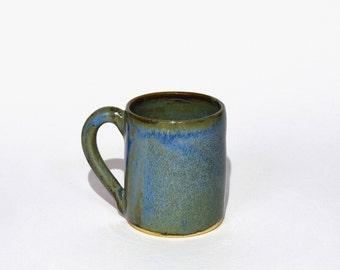 Espresso coffee cup mini mug handmade stoneware ceramic floating blue glaze. Also made to order