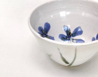 Blue Flowers Handpainted Stoneware Ceramic Nibbles Bowl Sugar Bowl Handmade
