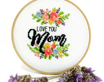 Cross Stitch Embroidery Handicraft DIY Mom And Daughter Pattern Lovely Decor Art